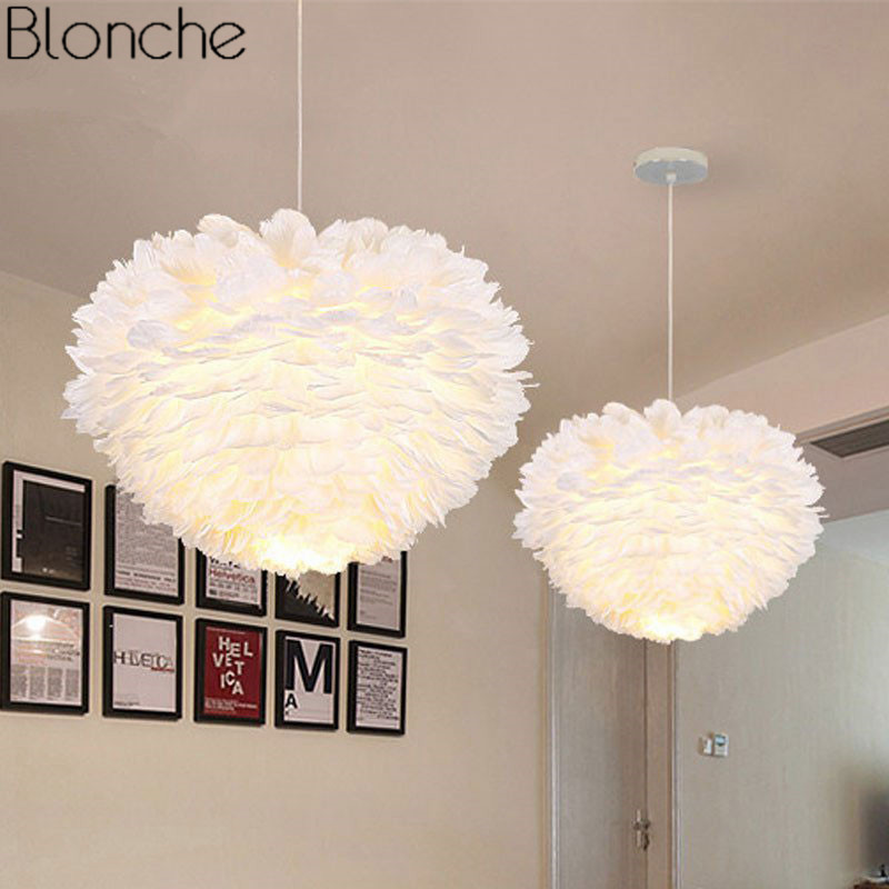 Nordic Feather Pendant Lights Modern Led Hanging Lamp For Dining Room Kitchen Luminaire Home Decor Romantic Lighting Fixtures