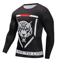 Novelty T-shirt For Men Animal Printed Long Sleeve Tees Compression Clothing Quick Dry Black White T shirts Slim Fit Tops 4XL