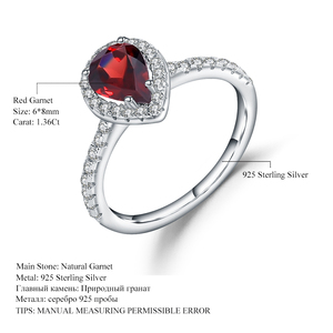 Image 5 - Gems Ballet 925 Sterling Silver Halo Ring 1.36Ct Natural Red Garnet Wedding Engagement Rings For Women Fine Jewelry