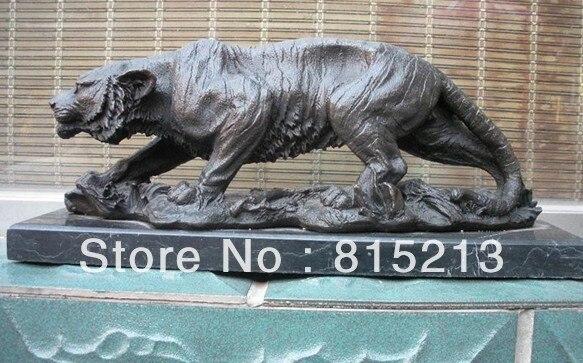 Wang 000201 Réaliste Bronze et Marbre Art Sibérien tigre Sculpture