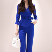 business Office Lady rompers womens jumpsuit long trousers pants 2019 New Fashion Elegant Blue Playsuits Casual Work Wear Romper