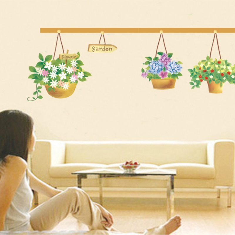 Removable Hanging Basket Flower Pot Wall Stickers Aesthetic Rustic For Living Room Bedroom Home Decoration Wallpaper Decals In From