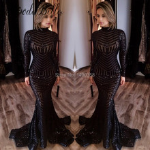Unique Long Sleeve Glitter Black Mermaid Sequin Prom Dress 2017 Sparkly Special Evening Party Gowns Vestido Formatura