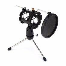 Metal uzatılabilir mikrofon tripod standı bom kolu mikrofon braketi katlanır şok dağı ile Mic tutucu klip ve filtre