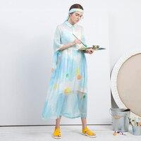 Новое прибытие 2018 оригинальный принт женское Свободное длинное шелковое платье рубашка летнее
