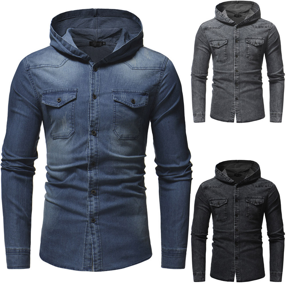 94148714e86 Details about Retro Mens Long Sleeve Distressed Denim Jacket Casual Slim Fit  Hooded Tops 3XL