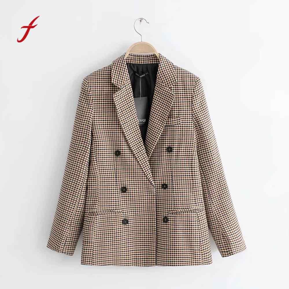 ファッションジャケット女性コートレトロボタン格子肩パッドスーツコートブラウスブレザー feminino プラスサイズ chamarras パラ mujer