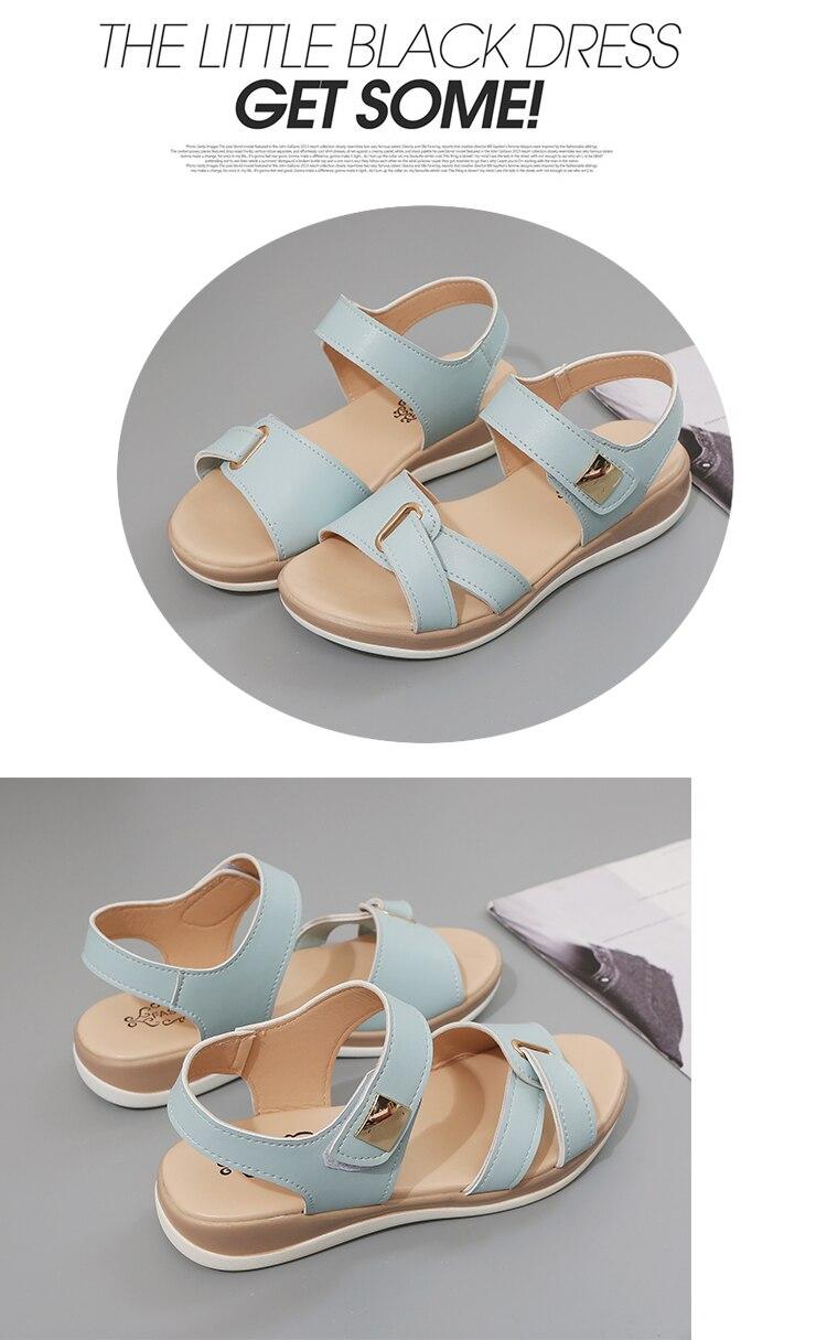 HTB1s5F3XzzuK1Rjy0Fpq6yEpFXaA Summer Women Sandals platform heel Leather hook loop metal Soft comfortable Wedge shoes ladies casual sandals V284