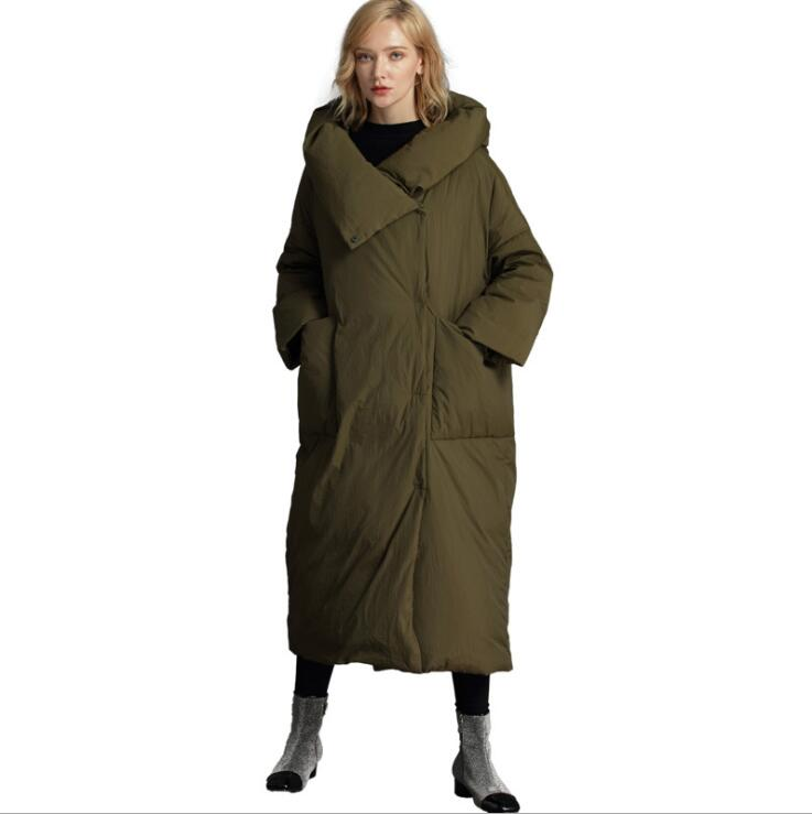 luxury   down     coats   women Winter   Down   Jackets Female Extra Long Hooded   Down     Coat   High Quality Thick Warm White Duck   Down   Parka