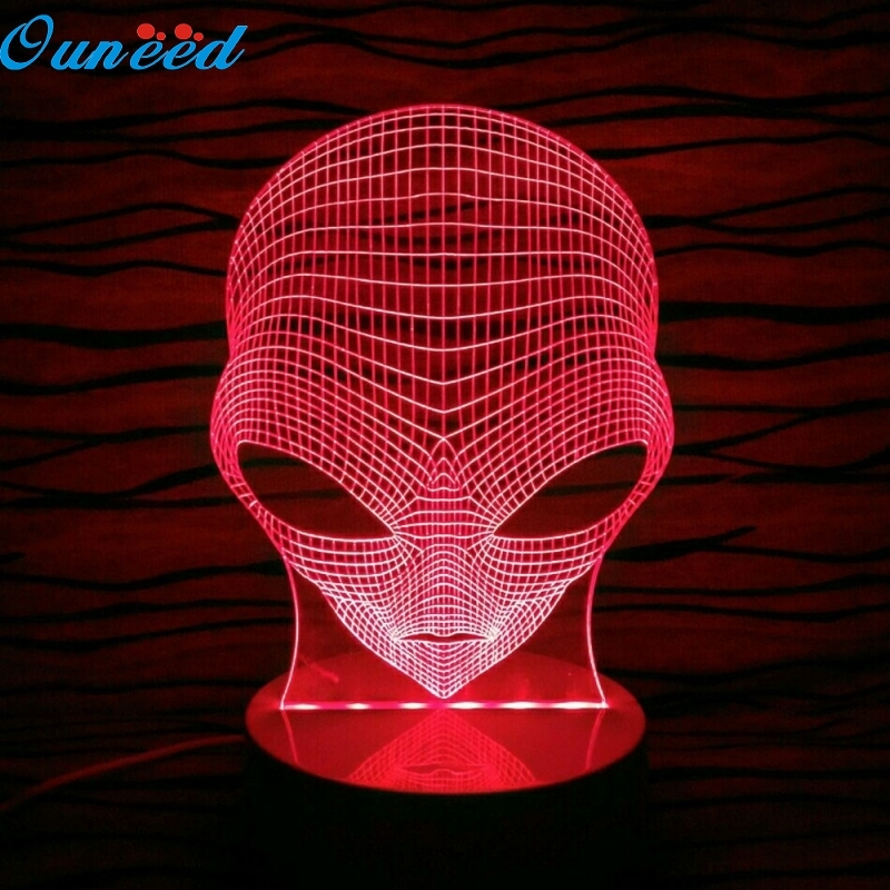 Ouneed Happy Home Pop-eyed Alien Shape 3D Handmade Acrylic Lamp USB Color Changing LED Night Light 1 Piece 3d tiger shape led color changing decorative night light