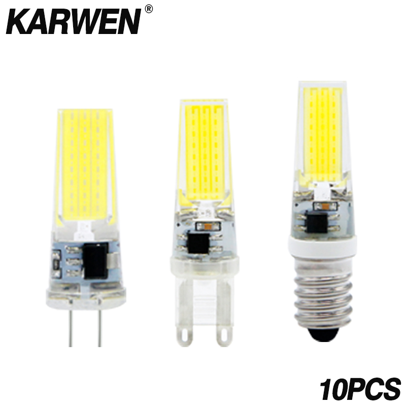 10pcs/lot <font><b>LED</b></font> Lamp G4 G9 <font><b>E14</b></font> AC/DC 12V 220V 3W 6W 9W High Quality <font><b>LED</b></font> G4 COB <font><b>LED</b></font> <font><b>Bulb</b></font> replace Halogen Spotlight Chandelier image