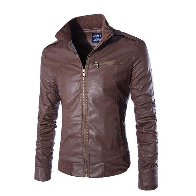 2017 Новая мода мужские кожаные куртки и пальто slim fit jaquetas де couro 3 цветов размер Ml XL XXL 3XL