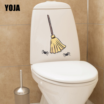 YOJA 15.8X23.7CM Halloween Hand Painted Broom Spider Toilet Decal Home Decor Wall Sticker T5-1270 image