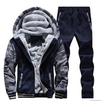 Winter Tracksuit Men Set Camouflage Patchwork Thicken Warm Hooded Jacket + Pants Sporting Two Pieces Sweatsuit Track Suits Men