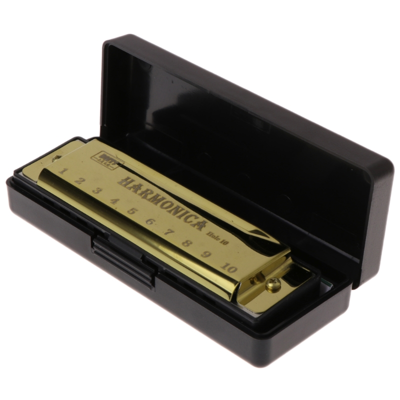 10 Holes Key of C Blues Harmonica Musical Instrument Educational Toy with Case title=