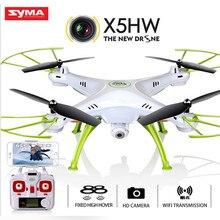 Original syma x5hw (atualização x5sw) corrida selfie dron fpv quadrocopter zangão com câmera hd 2.4g 4ch rc helicóptero wi fi usb brinquedo