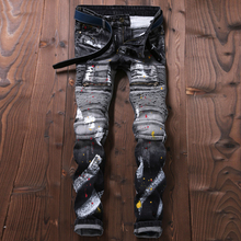 Mens skinny ink jeans denim slim fit motorcycle biker joggers designer cargo pants hole spliced stretch trousers man clothing