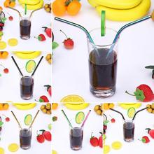3Pcs/set Colorful Stainless Steel Drinking Straws Reusable Drinking Straw with Cleaner Brushes Party Bar Drinking Accessories