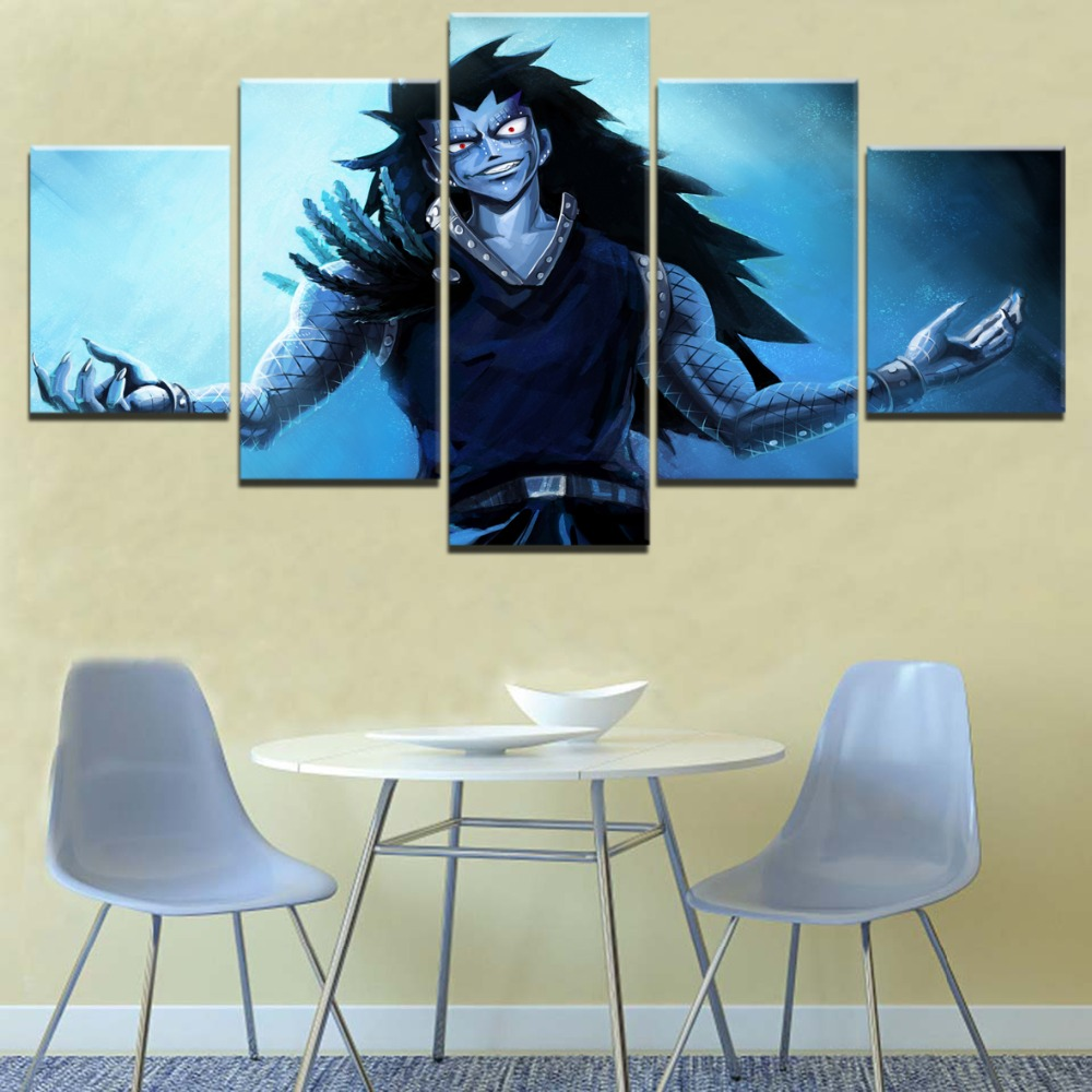 Gajeel Fairy Tail Anime 5 Piece HD Print Painting Home Decor Painting Canvas Wall Art Living Room Modern Decorative Artwork in Painting Calligraphy from Home Garden