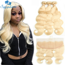 Sapphire Hair Extensions Body Wave 613 Blonde Human Hair Bundles Med Closure 3 Bundles With 13x4 Lace Frontal For Hair Salon
