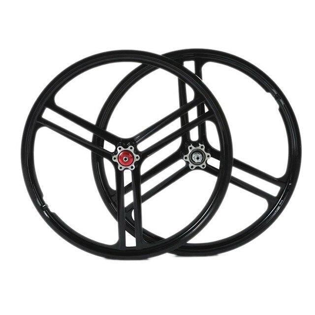 3 Spokes Wheels 20 Inch Magnesium Alloy Folding Bicycle Mountain Wheel Bike Rims