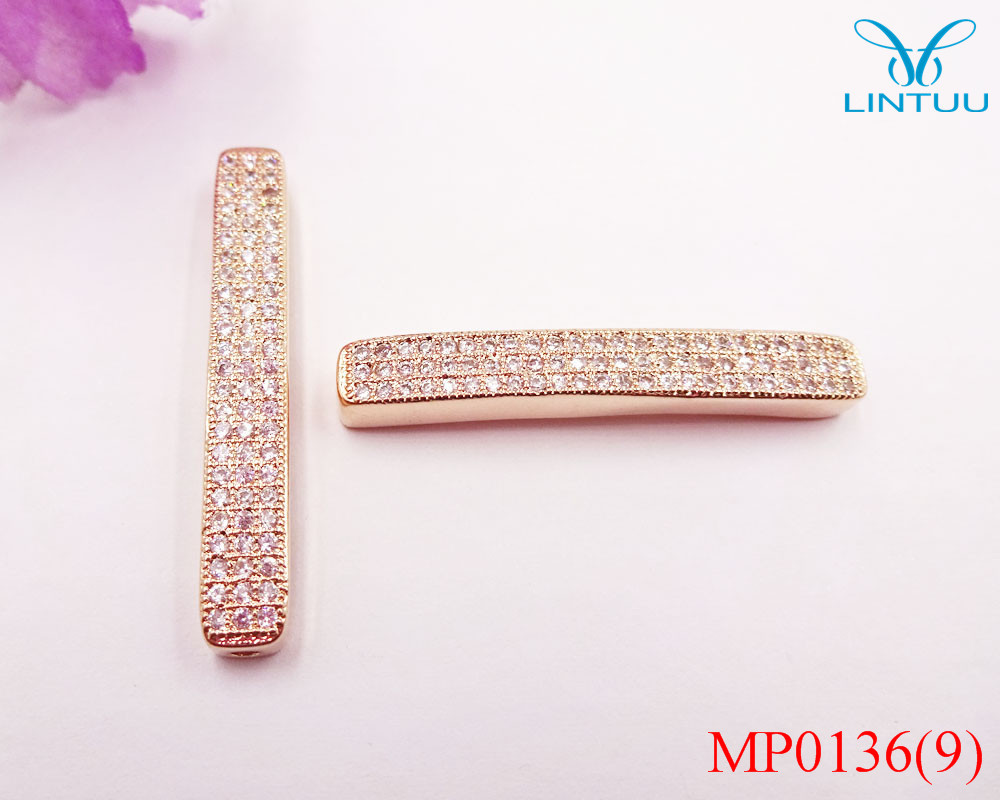 High Quality rose Gold color Beads Big Hole DIY Jewelry Fits Bracelets  Necklace Chain Fashion Charm Beads Micro Pave Charms b19ef15b84df