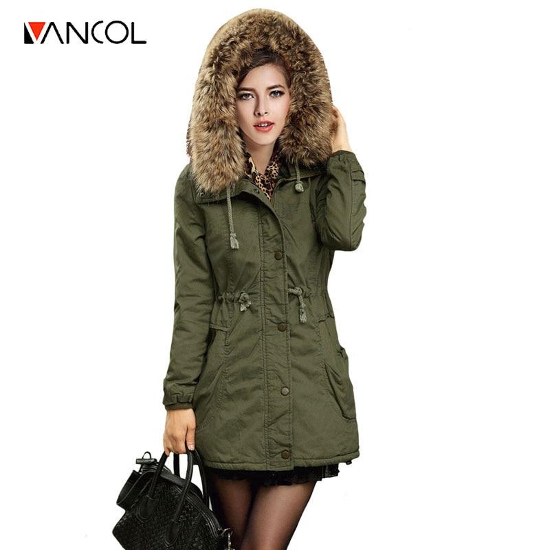 Vancol 2016 Winter Coats Woman European High Quality Fur Collar Hooded Slim Thicken Warm Long Down Plus Size Jacket Parka