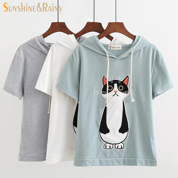 2017 summer autumn cartoon cat embroidery t shirt female cartoon pocket cat funny sweet female loose cute hooded tops for girls