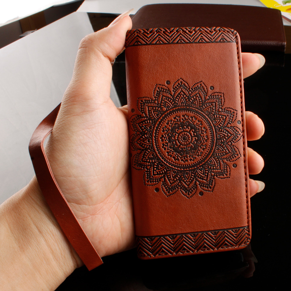 Wallet <font><b>Leather</b></font> <font><b>Case</b></font> For <font><b>iPhone</b></font> 8 7 6 6s Plus <font><b>SE</b></font> 5 5s Cover Retro Paisley Flower Mandala Henna Floral Flip Card Slot Holder Stand image