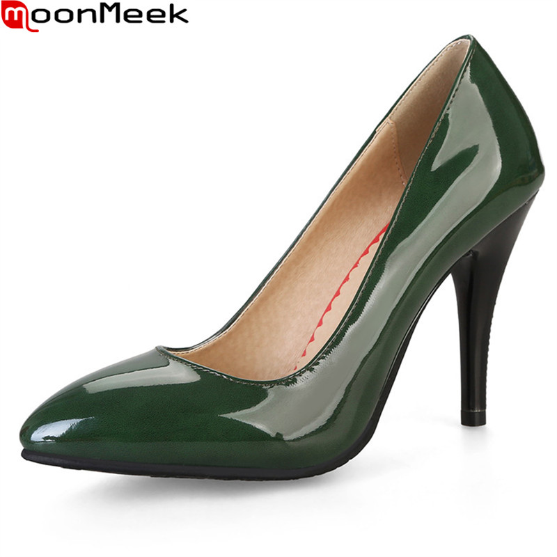MoonMeek 2018 new sexy female pumps high heel thin heel pointed toe shallow slip on red green colour women dress shoes