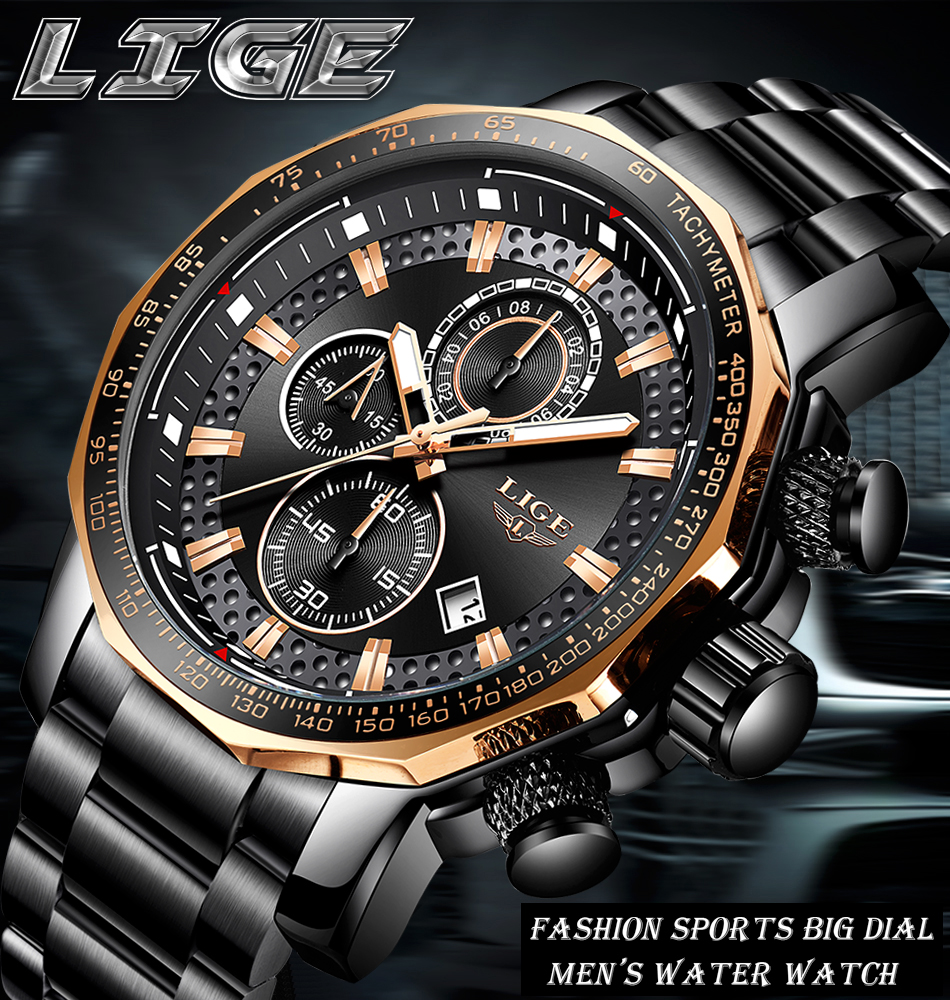 HTB1s5GHa6zuK1Rjy0Fpq6yEpFXaO Relogio Masculino LIGE New Sport Chronograph Mens Watches Top Brand Luxury Full Steel Quartz Clock Waterproof Big Dial Watch Men