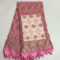 African Guipure French lace fabric pink color High quality Nigeria mesh cord lace fabric for wedding HJ1405 1