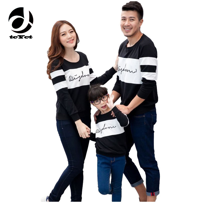 New Fashion Mother Kids Clothes 2016 Casual Spring Autumn Full Sleeve Family Matching Outfits Letter Print Mom & Son Top T Shirt цена 2017