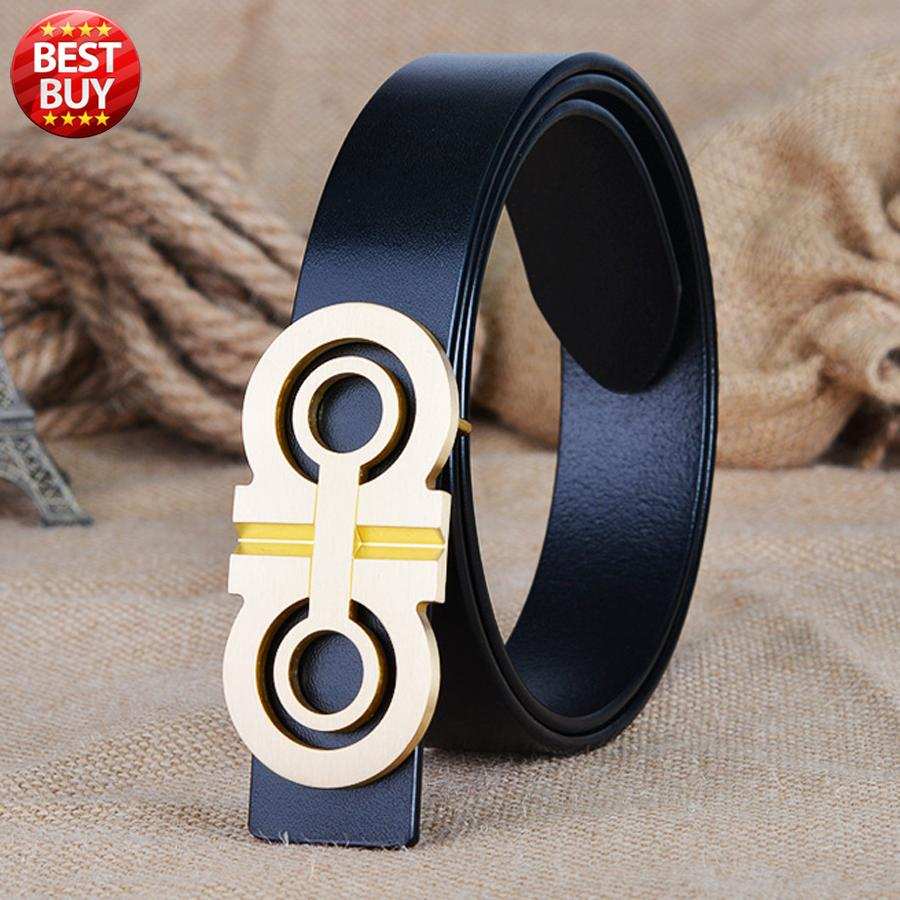2017 new  fashion designer Luxury brand belt for mens casual jeans high quality Genuine leather solid brass buckle free shipping