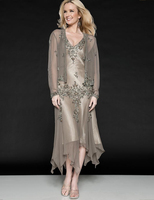 Don's Bridal Chiffon Appliques Tea Length Mother Of The Bride Dresses V-neck For Wedding Evening Party Dress With Jacket