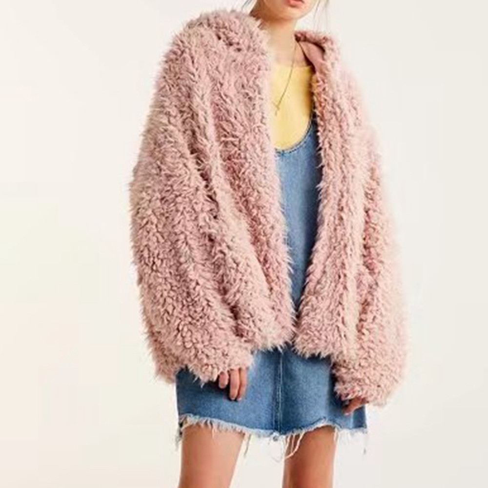 Womens Winter Fluffy Coat Fleece Fur Jacket Outerwear Hoodies Wrap Pink
