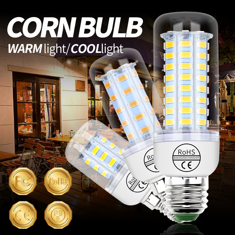 E14 lámpara LED E27 lámpara de maíz 220V bombilla GU10 bombas LED lampadora hogar ampolla B22 5730 G9 3W 5W 7W 12W 15W 18W 20W 25W Lámpara LED de noche con Sensor de movimiento PIR, lámpara LED de noche, lámpara de techo para sala de estar