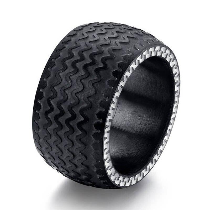 black mens ring tyre design punk biker wedding rings birthday gifts stainless steel rings for men ocs0254 - Biker Wedding Rings