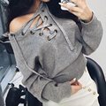2016 Winter Fall Women Sexy Sweater Casual Loose V Neck Lace Up Knitwear Long Sleeve Tops Slim Waist Bandage Jumper Pullovers