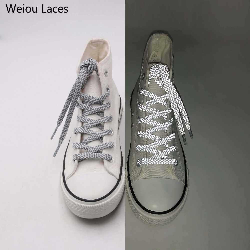 Resmi Weiou Düz 3 M Yansıtıcı Ayakabı Turuncu Koşucu Emniyet spor ayakkabı Danteller Mandal Bootlaces Koşu Çizmeler 350 750