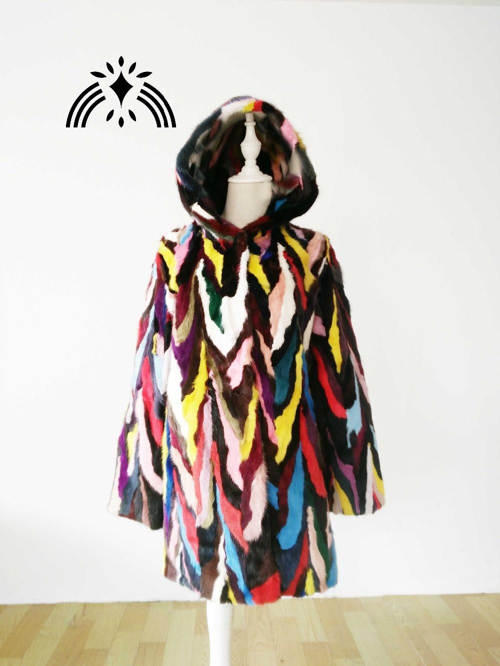 Vison Manteau Veste De Sizse Réel Nouveau Fourrure Avec Naturel Multicolore Coloré Toute Femmes Personnalisé Véritable Longueur Mode Capuche xnCOYw