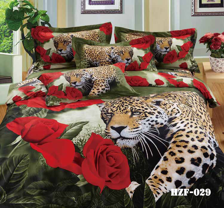 3d leopard animal print rose bedding sets king queen size duvet cover bedspread bed in a bag. Black Bedroom Furniture Sets. Home Design Ideas