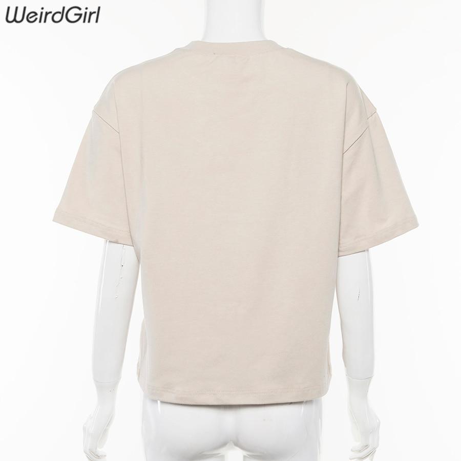 Weirdgirl Women Baby Angel Printing Casual Fashion T-shirts letter Short Sleeve O-Neck Khaki Loose Female Tees Summer New 19 5