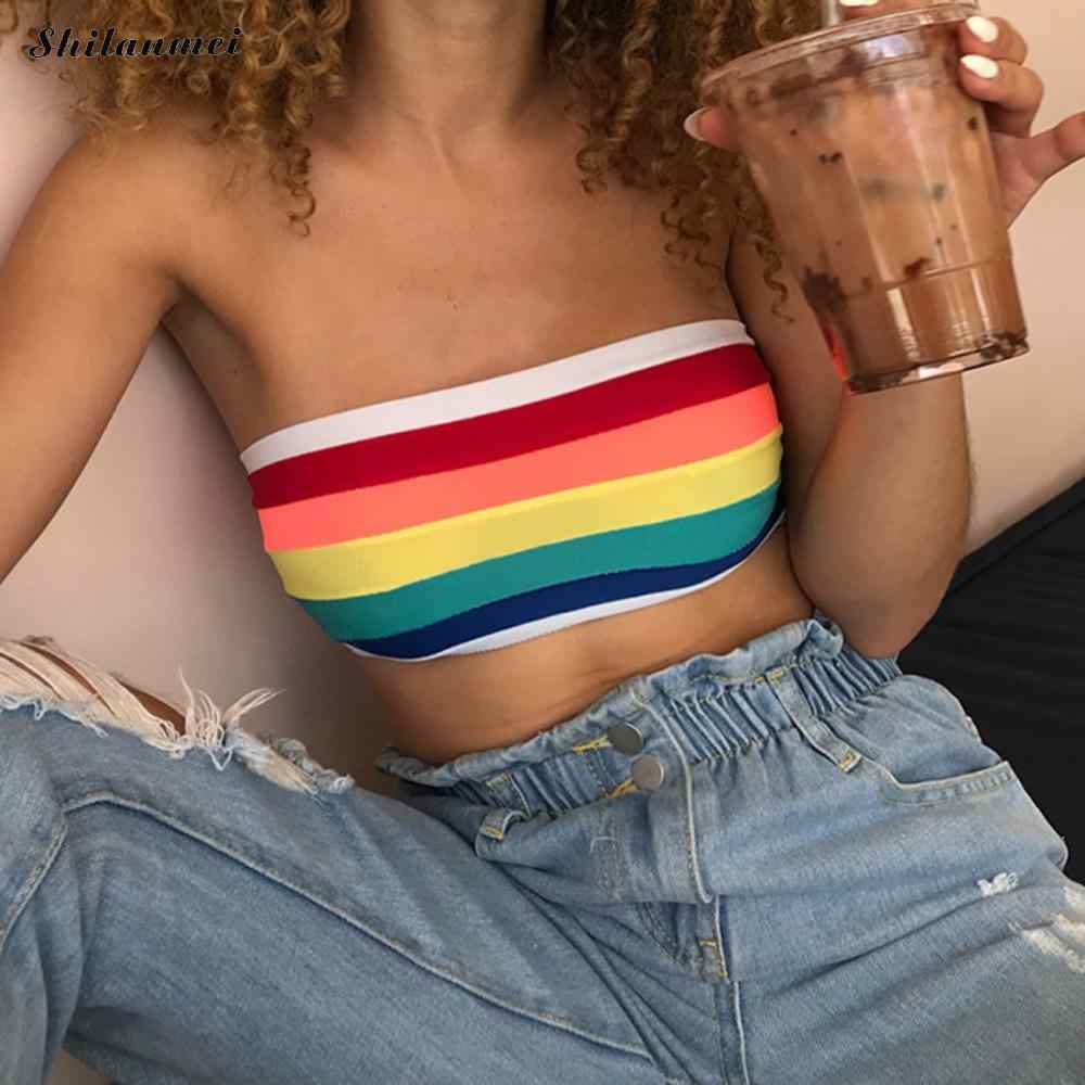 8a7340f4cd0 Sexy Tube Top Women Rainbow Striped Cropped Bandeau Summer Strapless Crop  Stretch Wrap Top Punk Tube