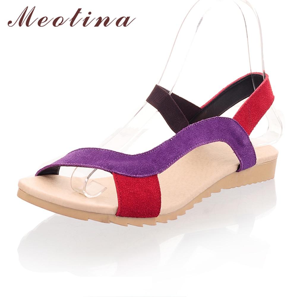 Meotina Femmes Sandales 2018 Été de Véritables Sandales En Cuir Pantoufles Pêcheur Bohême Plage Appartements Femmes Chaussures Plat Rouge Taille 9 10