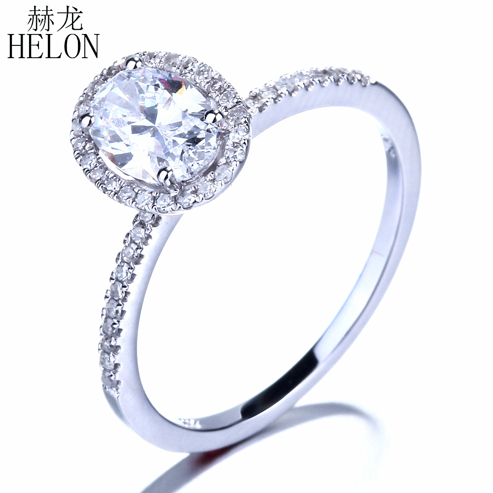 HELON Oval 7x5mm Cubic Zirconia Solid 10K White Gold Engagement Wedding Pave Natural Diamonds Ring For Women's Jewelry Fine Ring