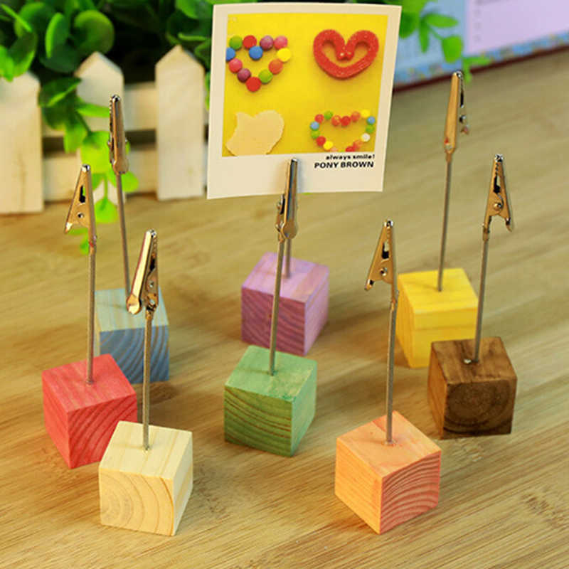 1PC 8 Cube Stand Alligator Wire Card Note Memo Table Photo Picture Clip Holders