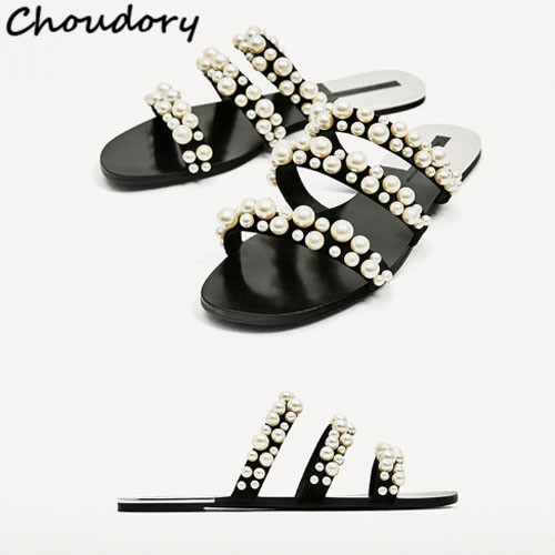 c6e3170767e0 women flops 2017 thin beach casual summer pearl flat slippers belt beads fashion  dresses flip roman ...
