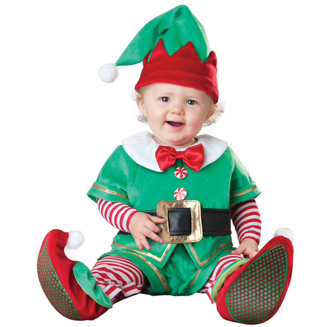 Christmas elf gift  hot baby jumpsuit Santa Claus clothes kids overalls newborn boys girls romper children costume