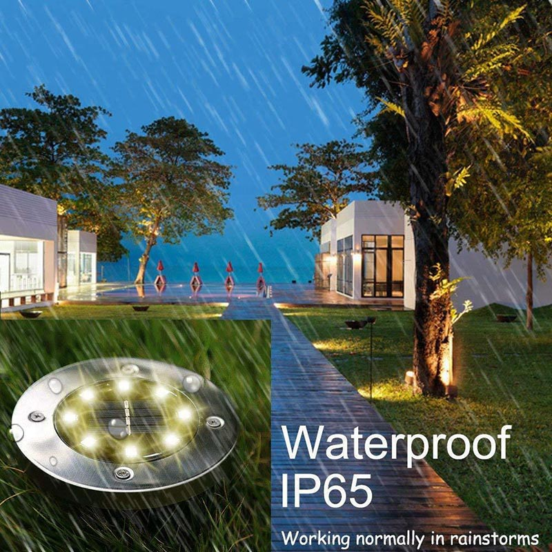 Solar Powered Disk Lights 8/12 LED Solar Pathway Lights Outdoor Waterproof Garden Landscape Lighting for Yard Lawn Party Gifts